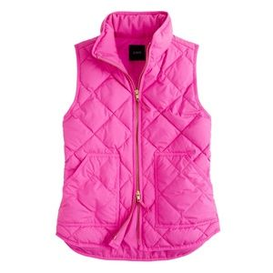 J. Crew Quilted Puffer Vest in Pink - SMALL S